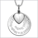"Love is Composed of a Single Soul Inspirational Pendant White Cats Eye Heart Charm Amulet 22"" Necklace"