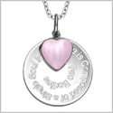 "Love is Composed of a Single Soul Inspirational Pendant Pink Cats Eye Heart Charm Amulet 18"" Necklace"