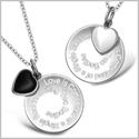 Love is Composed of a Single Soul Inspirational Heart Couples Set Simulated Onyx White Cats Eye Necklaces