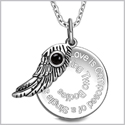 "Love is Composed of a Single Soul Inspirational Pendant Simulated Onyx Angel Wing Amulet 22"" Necklace"