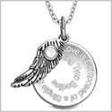 "Love is Composed of a Single Soul Inspirational Pendant White Cats Eye Angel Wing Amulet 22"" Necklace"