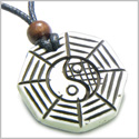 Amulet Original Tibetan Yin Yang BA GUA Balance Powers Natural White Bone Magic Doublesided Pendant Necklace