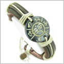 Amulet Genuine Leather Adjustable Bracelet with All Seeing Eye of Buddha and OM Tibetan Mantra Symbol Natural Bone Lucky Charm