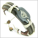 Amulet Genuine Leather Adjustable Bracelet with All Seeing Protection Eye Symbol Natural Bone Lucky Charm