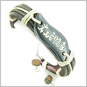 Amulet Genuine Leather Adjustable Bracelet with Magic OM Tibetan Mantra Tag Natural Bone Lucky Charm