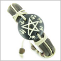 Amulet Genuine Leather Adjustable Bracelet with Magic Star Pentacle Symbol Natural Bone Lucky Charm