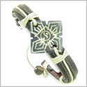 Amulet Genuine Leather Adjustable Bracelet with Yin Yang Four Seasons Symbol Natural Bone Lucky Charm