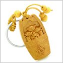 Amulet Money Bucket Wulu and Lucky Coins Charms Good Luck Powers Feng Shui Symbols Keychain Blessing