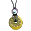 Small Tiny Antiqued Style Lucky Coin Donut Charm Amulet Tiger Eye Magic Powers Pendant Necklace