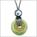 Small Tiny Antiqued Style Lucky Coin Donut Charm Amulet Green Moss Agate Magic Powers Pendant Necklace