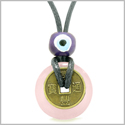 Small Tiny Antiqued Style Lucky Coin Donut Charm Amulet Rose Quartz Magic Powers Pendant Necklace