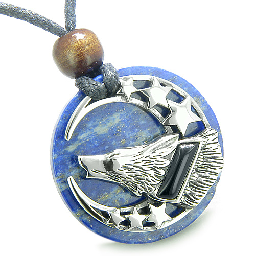 Wolf Necklaces Pendants Charms Amulet Black Onyx Howling Wolf Moon And Stars On Lapis