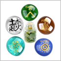 All Powers of Life Kanji Earth Water Fire Air Inspirational Ancient Amulets Glass Stones Moss Agate Set