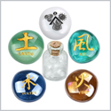All Powers of Life Kanji Air Earth Water Fire Inspirational Ancient Amulets Glass Stone Quartz Bottle Set