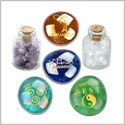 Ancient Zodiac Aquarius Yin Yang Powers Birthstones Amethyst Quartz Magical Glass Stones Bottles Set