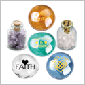 Believe Love and Faith Motivation Inspirational Amulets Glass Stones Amethyst Rose Quartz Bottles Set