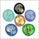 Reiki ChoKu Rei Balance Harmony Healing Rebirth Protection Energy Inspirational Amulets Glass Stones Set
