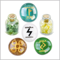 Ancient Runes Joy Wunjo Jera Sowelu Inspirational Amulets Glass Stones Citrine Green Quartz Bottles Set