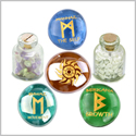 Ancient Runes Self Esteem Ehwaz Berkana Mannaz Amulets Glass Stones Fluorite White Howlite Bottles Set