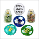 Dont Look Back Self Esteem Motivation Inspirational Amulets Glass Stones Moss Agate Jasper Bottles Set