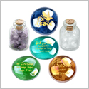 Serenity Courage Wisdom Encouragement Inspirational Amulets Glass Stones Amethyst and Quartz Bottles Set