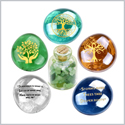 Tree of Life Faith Wisdom and Encouragement Inspirational Amulets Glass Stones Green Quartz Bottle Set