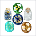 Om Sri Yantra Navatara and Kali Chakra Magical Insprirational Amulets Glass Stones Lapis Quartz Bottles
