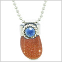 Handcrafted Free Form Tumbled Goldstone and Sodalite Cabochon Amulet 18 Inch Pendant Necklace