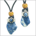 Handcrafted Free Form Tumbled and Rough Sodalite and Sodalite Cabochon Love Couples Amulet Set Necklaces