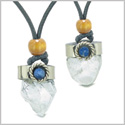 Handcrafted Free Form Tumbled Rough Crystal Quartz Sodalite Cabochon Love Couples Amulet Set Necklaces