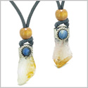 Handcrafted Free Form Tumbled and Rough Yellow Quartz Sodalite Cabochon Love Couples Amulet Set Necklaces