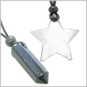 Amulets Lucky Crystal Point and Magic Star Love Couples Blue Goldstone White Cats Eye Charms Necklaces