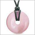Amulet Magic Large Coin Shaped Donut Positive Powers Pink Cat�s Eye Crystal Lucky Charm Necklace