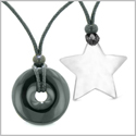 Large Coin Donut Super Star Amulet Love Couple or Best Friends Black Agate and White Cats Eye Necklaces