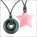 Large Coin Donut Super Star Amulet Love Couple or Best Friends Black Agate and Pink Cats Eye Necklaces