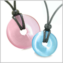 Large and Small Lucky Coin Donuts Amulets Love Couples Pink and Sky Blue Cats Eye Charms Necklaces