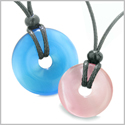 Large and Small Lucky Coin Donuts Amulets Love Couples Sky Blue and Pink Cats Eye Charms Necklaces