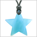 Amulet Magic Super Star Positive Powers Sky Blue Cat's Eye Crystal Lucky Charm Pendant Necklace