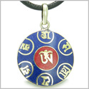 Amulet Tibetan Ancient Mantra OM Mani Padme Hum Red Turquoise and Lapis Lazuli Magic Symbols Medallion Pendant Leather Necklace