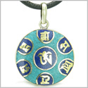 Amulet Tibetan Ancient Mantra OM Mani Padme Hum Turquoise and Lapis Lazuli Magic Symbols Medallion Pendant Leather on Necklace