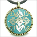 Amulet Ancient OM and Tibetan RDO RJE Magic Symbols Medallion Turquoise Gemstone Circle Pendant on Leather Necklace
