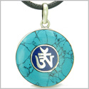 Amulet Ancient OM Tibetan Spiritaul Protection Magic Powers Turquoise and Lapis Lazuli Circle Medallion Pendant Leather Necklace