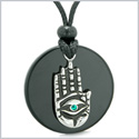 All Seeing and Feeling Buddha Eye Hamsa Hand Magic Medallion Black Agate Green Crystal Pendant Necklace