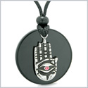All Seeing and Feeling Buddha Eye Hamsa Hand Magic Medallion Black Agate Pink Crystal Pendant Necklace