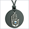 All Seeing and Feeling Buddha Eye Hamsa Hand Magic Medallion Black Agate Blue Crystal Pendant Necklace