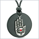 All Seeing and Feeling Buddha Eye Hamsa Hand Magic Medallion Black Agate Red Crystal Pendant Necklace