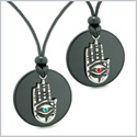 All Seeing Feeling Buddha Eye Hamsa Hand Love Couples Best Friends Agate Red Green Medallion Necklaces