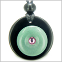 Double Lucky Donut Medallion Pink Swarovski Eye Crystal Black Onyx Green Aventurine Good Luck Powers Pendant Necklace