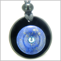 Double Lucky Donut Medallion Sky Blue Swarovski Eye Crystal Black Onyx and Lapis Lazuli Magic Powers Pendant Necklace