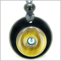 Double Lucky Donut Medallion Sky Blue Swarovski Eye Crystal Black Onyx Tiger Eye Protection Powers Pendant Necklace